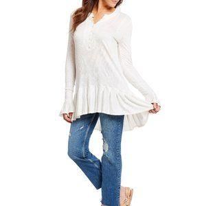 Free People Ivory Your Girl Flounce Hem Knit Tunic
